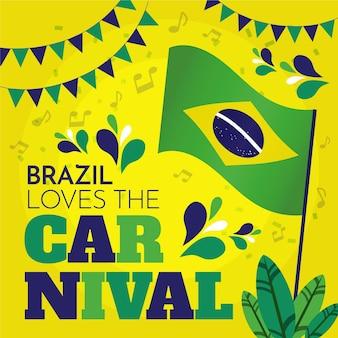 Carnaval brasileiro desenhado à mão com bandeira