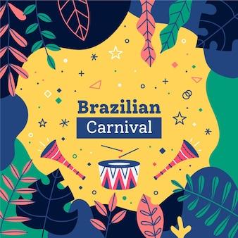 Carnaval brasileiro desenhado à mão com folhas