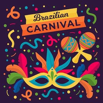 Carnaval brasileiro desenhado à mão com máscara