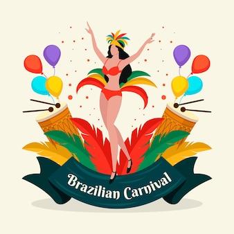 Carnaval brasileiro desenhado à mão com mulher