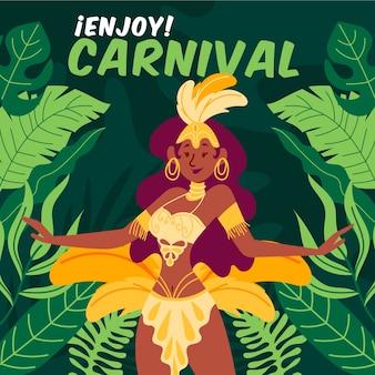 Carnaval brasileiro desenhado à mão com personagem dançando