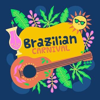 Carnaval brasileiro desenhado à mão com vegetação