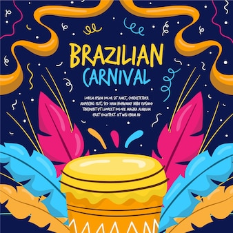Carnaval brasileiro desenhado à mão