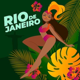 Carnaval brasileiro do rio de janeiro com mulher de lado
