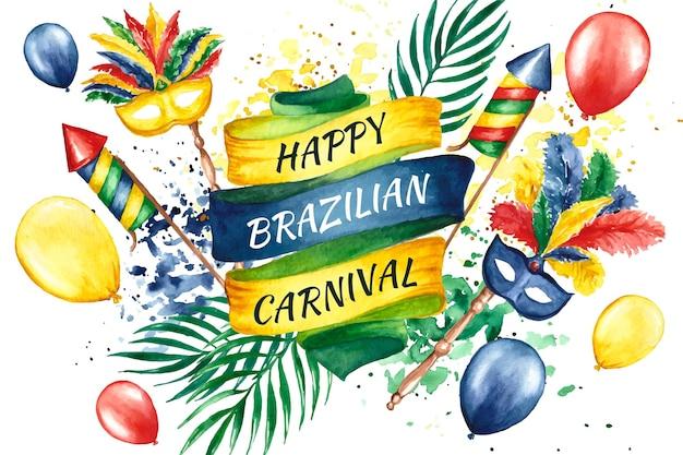 Carnaval brasileiro em aquarela com balões
