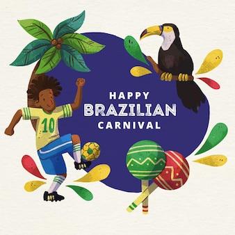 Carnaval brasileiro em aquarela com pássaro