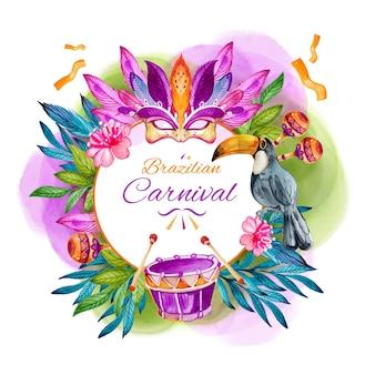 Carnaval brasileiro em aquarela com penas