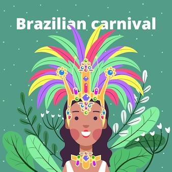 Carnaval brasileiro em design plano