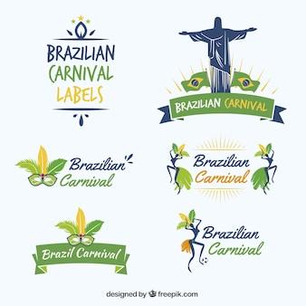 Carnaval brasileiro etiqueta a coleção