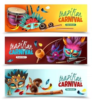 Carnaval brasileiro festival 3 horizontais realistas banners coloridos com instrumentos musicais tradicionais máscaras penas isoladas ilustração vetorial