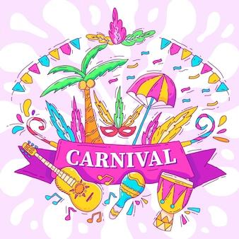 Carnaval brasileiro ilustrado desenhado à mão