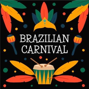 Carnaval brasileiro na mão desenhada