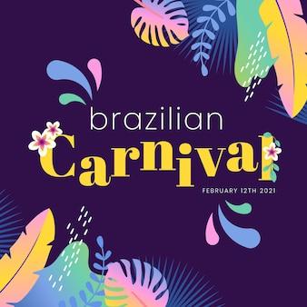 Carnaval brasileiro plano com folhas