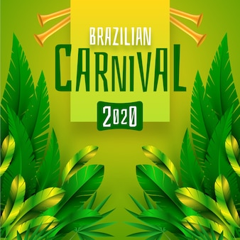 Carnaval brasileiro realista com folhagem exótica