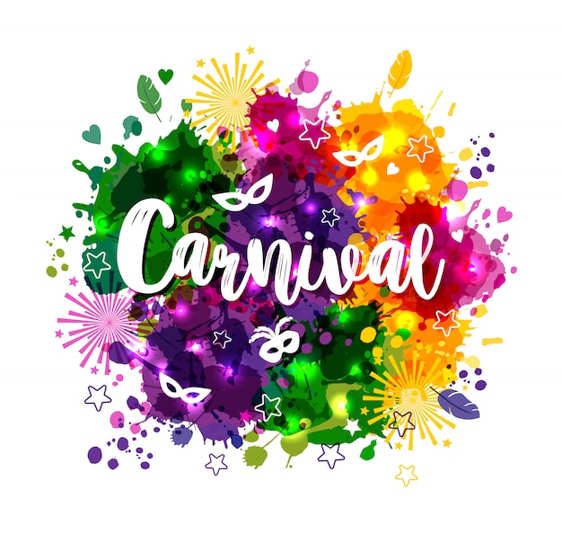Carnaval carnaval em manchas de aquarela multicolors