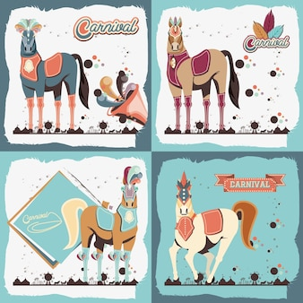 Carnaval cavalos vintage ícone vector ilustração design