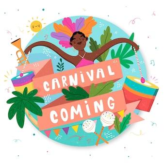 Carnaval chegando com mulher dançando mão desenhada
