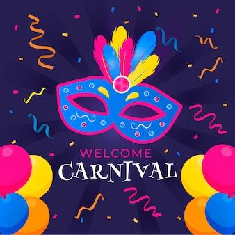 Carnaval colorido com máscara e confetes