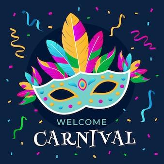 Carnaval colorido com máscara e penas