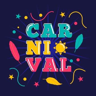Carnaval colorido com penas e estrelas