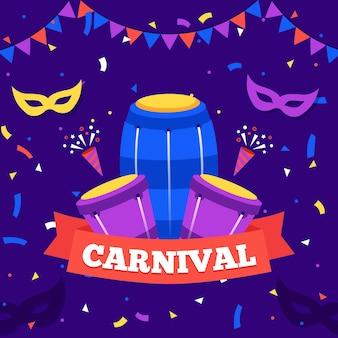 Carnaval colorido em design plano