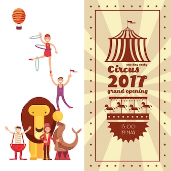 Carnaval de feira de diversões e cartaz de vetor vintage de circo