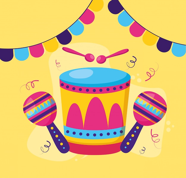 Carnaval de maracas de tambor