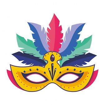 Carnaval de máscara com ilustração vetorial de penas