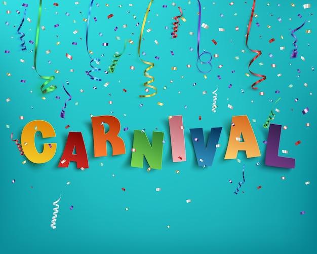 Carnaval de palavra tipográfica artesanal colorida em fundo com fitas e confetes