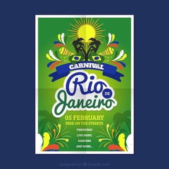 Carnaval do rio de janeiro cartaz em design plano