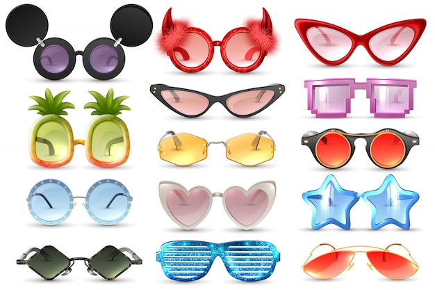 Carnaval festa mascarada traje óculos coração estrela gato olho em forma de óculos engraçados realista conjunto ilustração vetorial isolado