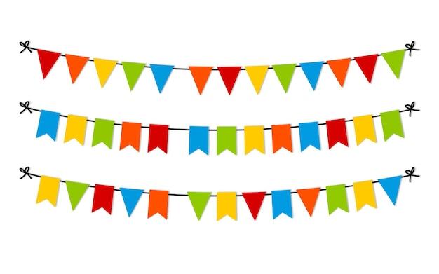 Carnaval guirlandas coloridas e bandeirolas. ilustração de carnaval colorido festivo. comemore o fundo. ilustração vetorial eps 10