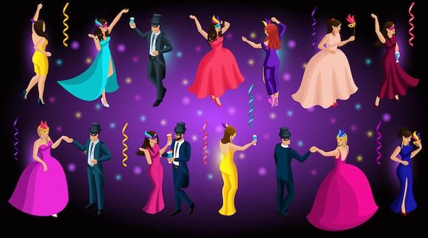 Carnaval isométrico, homens e mulheres em máscaras, baile de máscaras veneziano, danças, lindos vestidos luxuriantes