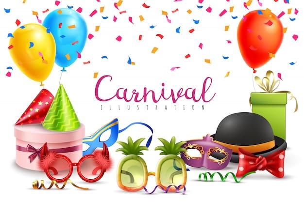 Carnaval mascarada festa chapéus balões confetes engraçados óculos coloridos e em forma