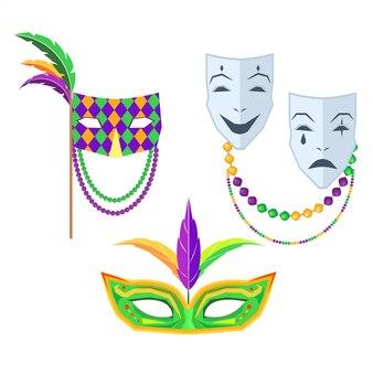 Carnaval. máscaras de carnaval ilustrações isoladas