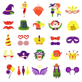 Carnaval masquerade big colorful set