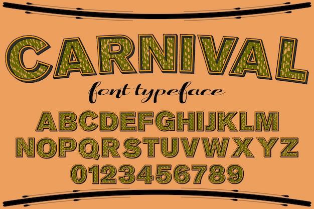 Carnaval retro do projeto da etiqueta do alfabeto