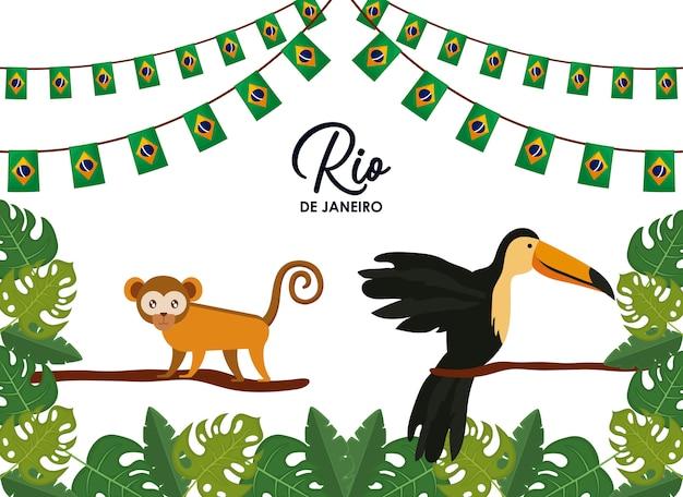 Carnaval rio janeiro cartão com animais exóticos