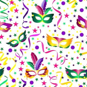 Carnaval sem costura fundo com estrelas, máscara e fitas