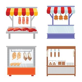Carne, carne de carneiro, comida de frango street stall premium