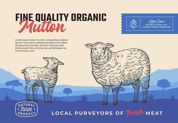Carne de carneiro orgânico de excelente qualidade. design abstrato de embalagem de carne