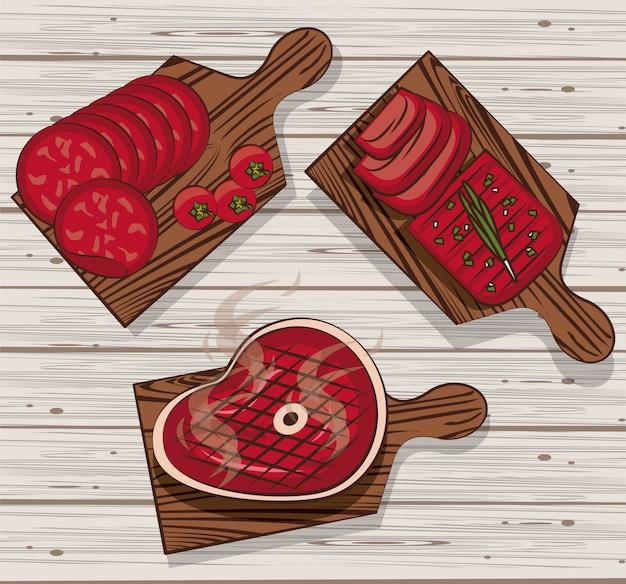 Carne de churrasco em mesas