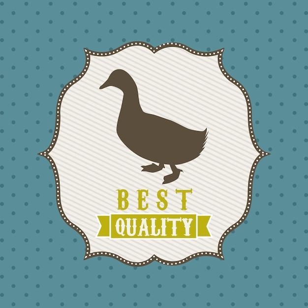 Carne de pato sobre ilustração vetorial de fundo azul