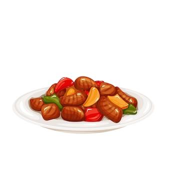 Carne de porco doce e ácida. ilustração do vetor de culinária chinesa.