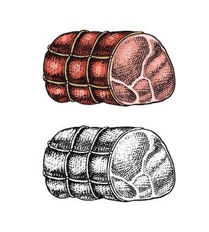 Carne grelhada, carne de porco ou bolo de carne bovina em emblemas de modelo de estilo vintage ou