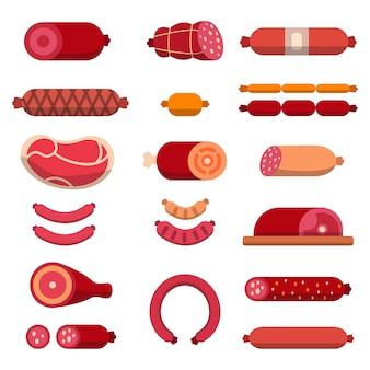 Carne, mariscos, carne marmorizada e outros diferentes para açougue