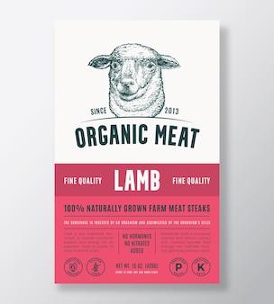 Carne orgânica, vetor abstrato, embalagem, design ou rótulo, modelo, fazenda, bifes cultivados, bandeira, moderno, typo ...
