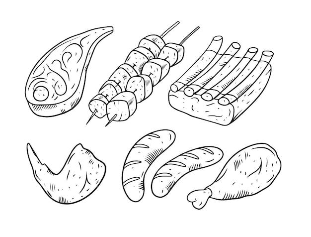 Carne para churrasco isolada no branco