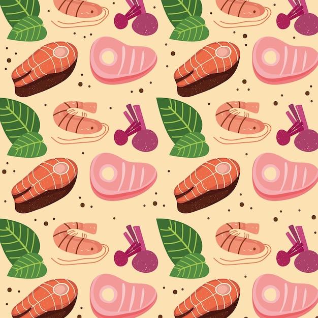 Carne peixe e rabanete
