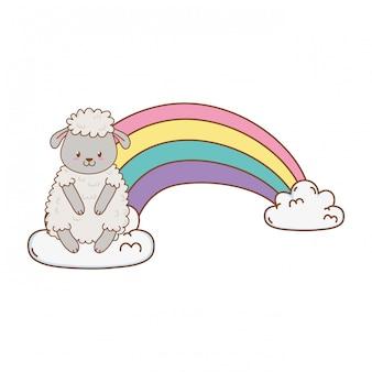 Carneiros bonitos nas nuvens com arco-íris